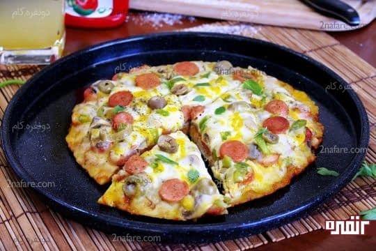 طرز تهیه پیتزا با قابلمه + اموزش گام به گام