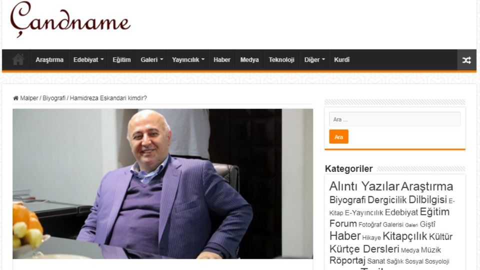بازتاب فعالیت های حمیدرضا اسکندری، مالک هلدینگ پارسینه در یک سایت خبری ترکیه